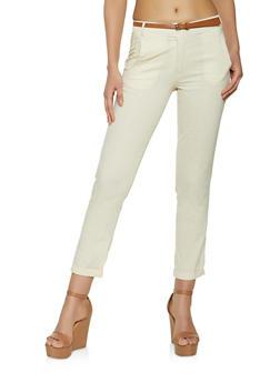 Linen Belted Pants - 1061062707591