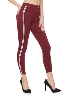 Striped Tape Trim Skinny Jeggings - 1061063409285