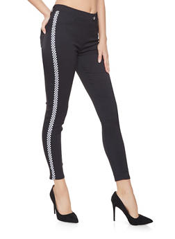 Checkered Tape Trim Jeggings - 1061063409286