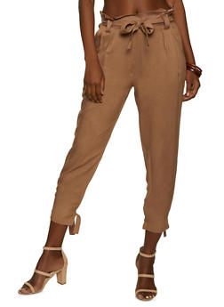Tie Hem Paper Bag Waist Pants - 1061074010560