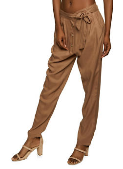 Tie Waist 4 Button Pants - 1061074010561
