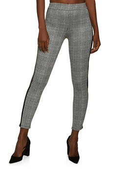 Plaid Faux Leather Trim Pants - 1061074010618