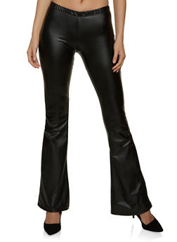 Flared Faux Leather Pants - 1061074010619