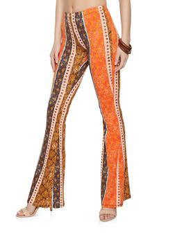 Soft Knit Border Print Flared Pants - 1061074010658