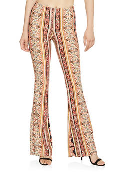 Soft Knit Printed Flared Pants - 1061074011785