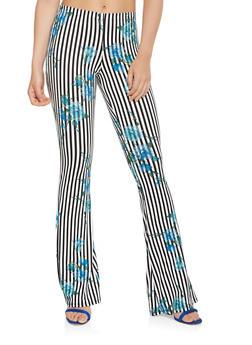 Soft Knit Printed Flared Pants - 1061074011785