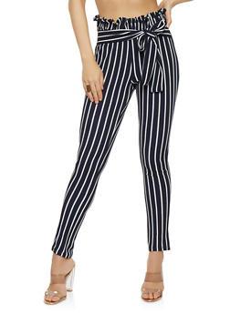 Paper Bag Waist Striped Pants - 1061074012858