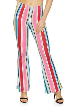 Striped Flared Soft Knit Pants - 1061074015007