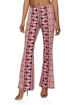 Soft Knit Border Print Flared Pants - 1061074015008