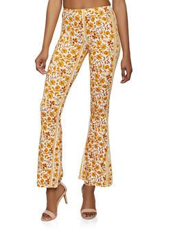 Soft Knit Border Print Flared Pants - 1061074015008