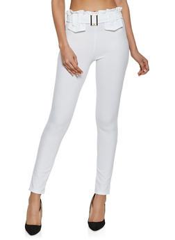 Belt Detail Crepe Dress Pants - 1061074015053