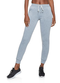 Tie Waist Fleece Lined Joggers - 1061074015533