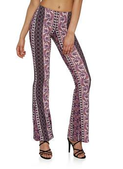 Paisley Print Flared Pants - 1061074015820