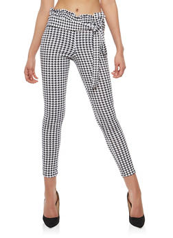 Houndstooth Belted Skinny Pants - 1061074015828