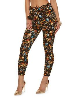 Printed Tie Front Pants - BLACK - 1061074015862