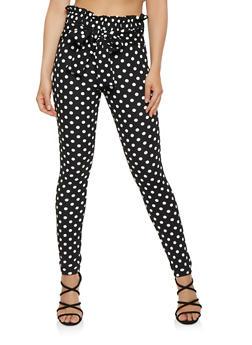Printed Tie Front Pants - BLACK/WHITE - 1061074015862