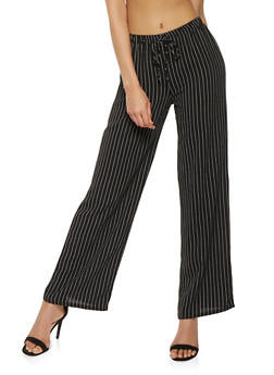 Striped Tie Front Palazzo Pants - 1061074015869