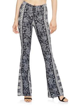 Printed Soft Knit Flared Pants - 1061074015871