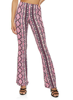 Printed Soft Knit Flared Pants - 1061074015871