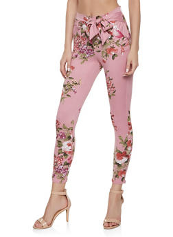 Printed Tie Front Casual Pants | 1061074015889 - MAUVE - 1061074015889