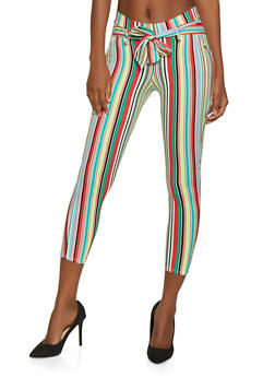 Printed Tie Front Casual Pants | 1061074015889 - NEON YELLOW - 1061074015889