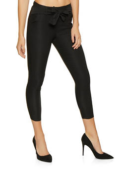 Cropped Tie Waist Dress Pants - 1061074015893