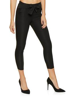 Cropped Tie Waist Dress Pants - Black - Size L - 1061074015893