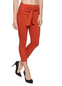 Cropped Tie Waist Dress Pants - 1061074015893