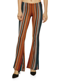 Striped Knit Flared Pants - 1061074015909