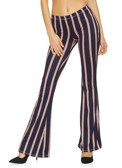 Striped Flared Pants - NAVY - 1061074015922