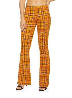 Striped Flared Pants - ORANGE - 1061074015922