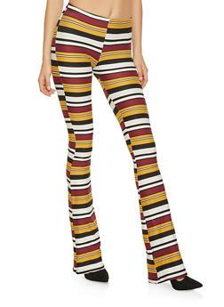 Striped Soft Knit Flared Pants - 1061074015923