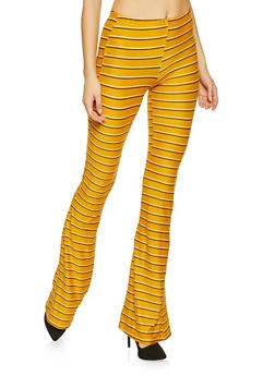 Striped Soft Knit Flared Pants - 1061074015923