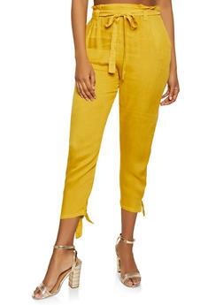 Tie Hem Paper Bag Waist Pants - 1061074015929