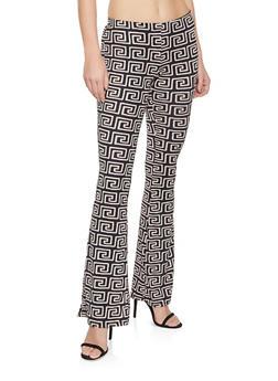 Geometric Print Flared Pants - 1061074015947