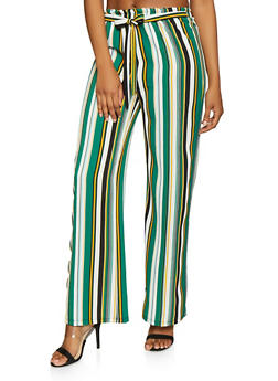 Striped Tie Front Palazzo Pants - 1061074015952