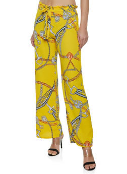 Paper Bag Waist Crepe Knit Palazzo Pants - MUSTARD - 1061074015964