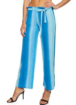 Paper Bag Waist Crepe Knit Palazzo Pants - BLUE - 1061074015964