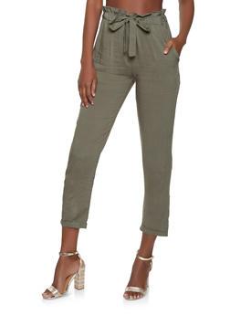 Lightweight Paper Bag Waist Pants - 1061074015972