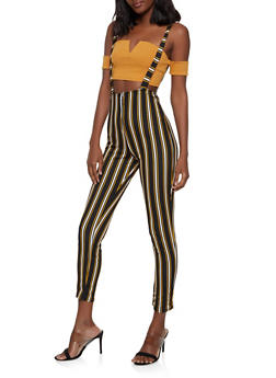 Striped Zip Front Suspender Pants - 1061074015982