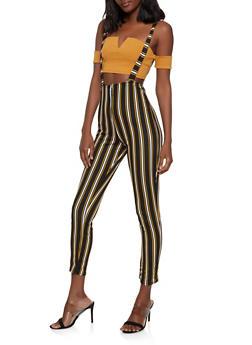 097a0b38d9f Striped Zip Front Suspender Pants - 1061074015982