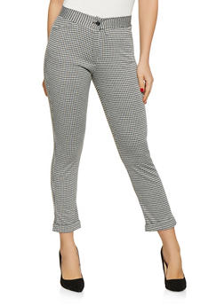 Cuffed Houndstooth Pants - 1061074015992