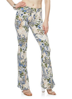 Printed Soft Knit Flared Pants - IVORY/NAVY - 1061074017875