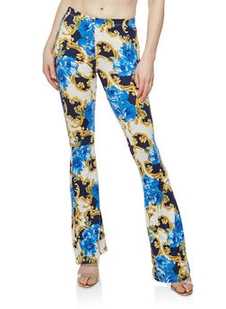Printed Soft Knit Flared Pants - RYL BLUE/GOLD - 1061074017875