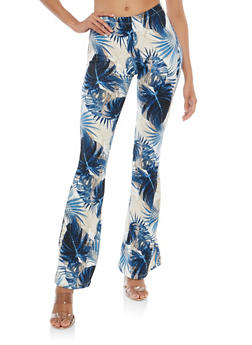 Printed Soft Knit Flared Pants - BLUE - 1061074017875
