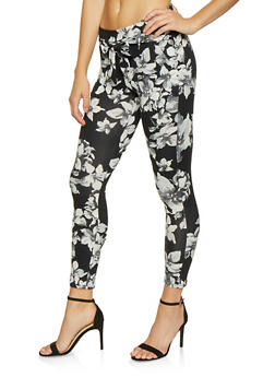 Printed Tie Front Casual Pants - GRAY - 1061074018185
