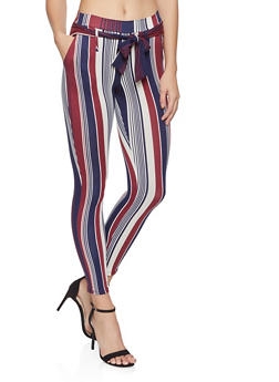 Printed Tie Front Casual Pants - 1061074018185