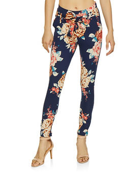 Printed Tie Front Casual Pants - NAVY - 1061074018185