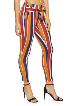 Printed Tie Front Casual Pants - MUSTARD - 1061074018185