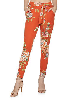 Printed Tie Front Casual Pants - RUST - 1061074018185